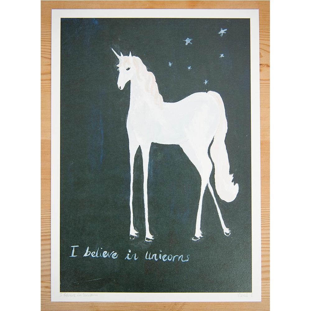 Believe In Unicorns: I Believe In Unicorns Illustrated Print By Sarah Lovell
