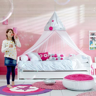 IBIZA BLOOM GIRLS BED WITH CANOPY AND PULLOUT DRAWER