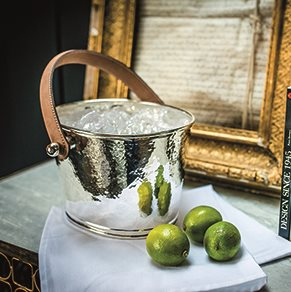 LUXURY ICE BUCKET with Leather Handle and Champagne Hammered Finish