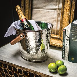 LUXURY WINE COOLER with Leather Handle and Champagne Hammered Finish