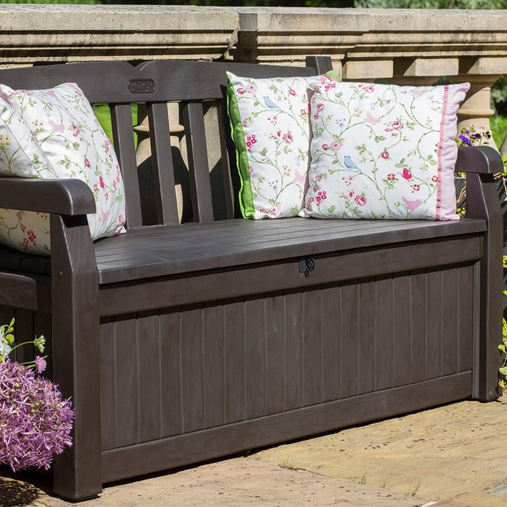 Keter Iceni Garden Storage Bench In Dark Brown Norfolk