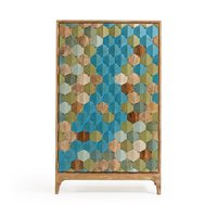Product photograph showing Ilka Wooden Cabinet With Multicoloured Front