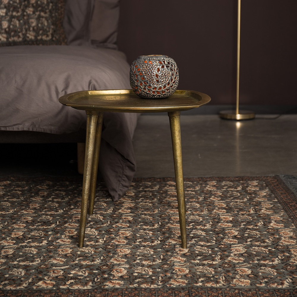 Indian block printed rug in grey indoor rugs cuckooland for Donker interieur
