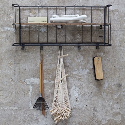 Giro Industrial Wall Shelf with Hooks by Be Pure Home