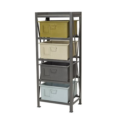 METAL SHELVING UNIT with 4 Storage Boxes