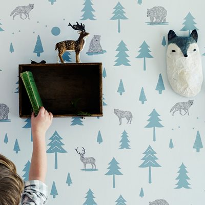 KIDS WALLPAPER Into The Wild Design in Grey & Storm Green