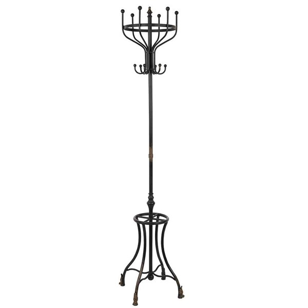Iron Coat and Umbrella Stand with Decorative Feet