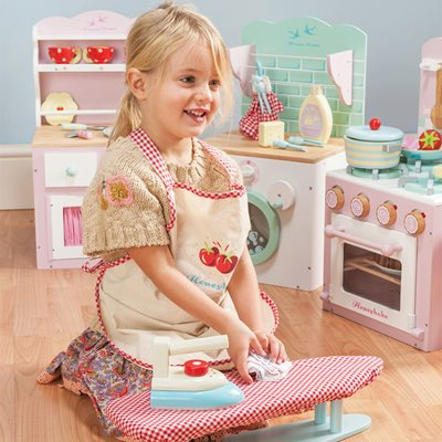 LE TOY VAN WOODEN IRONING SET with Gingham Cover