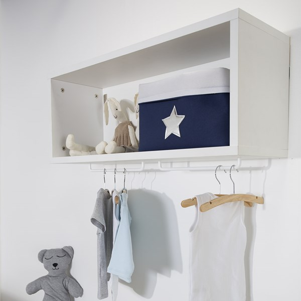 Ironwood White Wall Shelf with Hanging Rail