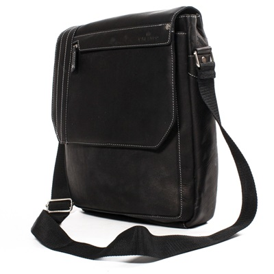 THE ISO UPRIGHT LEATHER MESSENGER BAG In Black by Adventure Avenue