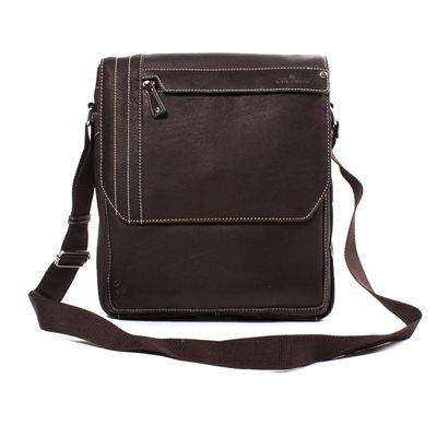 THE ISO UPRIGHT LEATHER MESSENGER BAG In Brown by Adventure Avenue