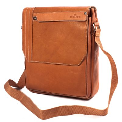 THE ISO UPRIGHT LEATHER MESSENGER BAG In Tan by Adventure Avenue