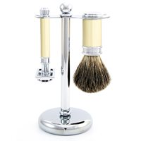 EDWIN JAGGER MENS DOUBLE EDGE RAZOR SHAVING KIT in Ivory Finish