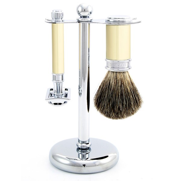 Edwin Jagger Men's Double Edge Razor Shaving Kit Ivory Finish