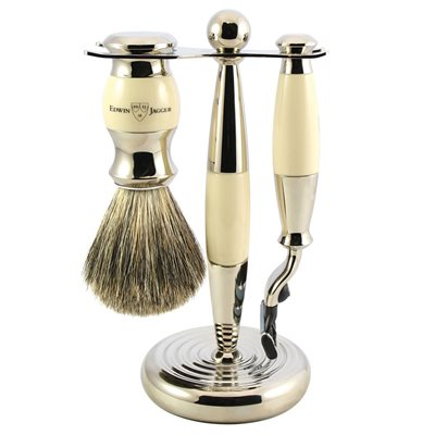 EDWIN JAGGER MEN'S SHAVING BRUSH SET in Ivory Finish