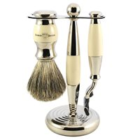 EDWIN JAGGER MENS SHAVING BRUSH SET in Ivory Finish