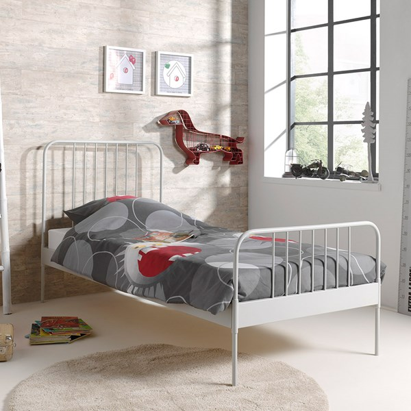 Jacky Single Metal Bed in Grey