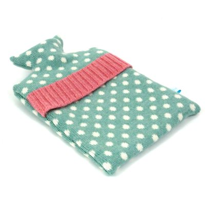 KNITTED LAMBSWOOL HOT WATER BOTTLE COVER Jade Dot