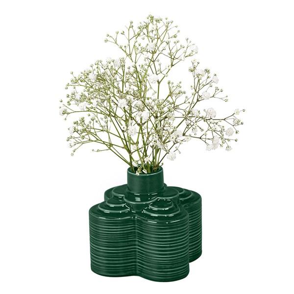 Orla Kiely Ceramic Stem Striped Petal Vase in Jade