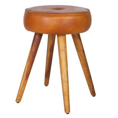 JAX LEATHER STOOL in Cognac Brown