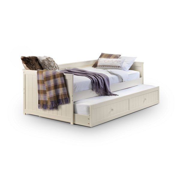 Kids Day Bed with Pull Out Trundle Bed in White