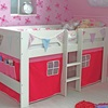 Childrens Bed with Pink and Fuchsia Play Curtain