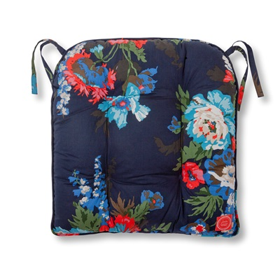 JOULES GARDEN SEAT CUSHION in Navy & Floral