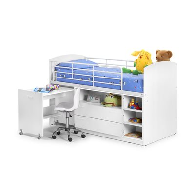 LEO MID SLEEPER KIDS SINGLE BED in White with Shelving, Storage and Pull Out Desk