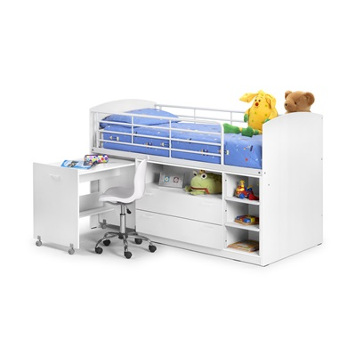 LEO MID SLEEPER KIDS BED in White by Julian Bowen
