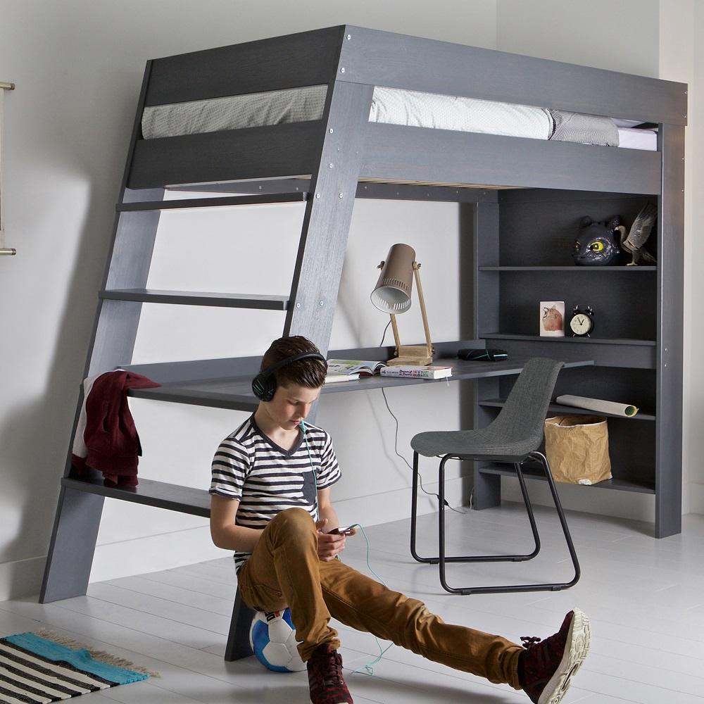 Julien Kids Loft Bed Amp Desk In Brushed Grey Pine Single