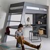 Kids Grey Loft Bed in Pine