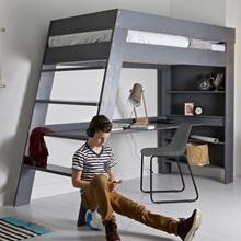 Julien Kids Loft Bed Amp Desk In Brushed Grey Pine Woood