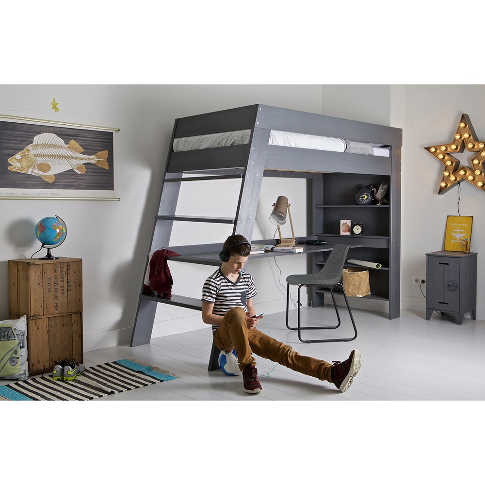 julien kids loft bed desk in brushed grey pine woood cuckooland. Black Bedroom Furniture Sets. Home Design Ideas