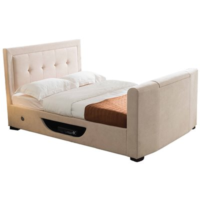 JULIET UPHOLSTERED SIDE OTTOMAN TV BED by Flair Furnishings