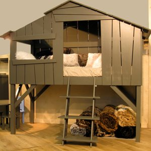 KIDS TREEHOUSE SINGLE CABIN BED in Artichoke