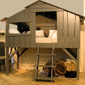 MATHY BY BOLS TREEHOUSE SINGLE CABIN BED in Artichoke