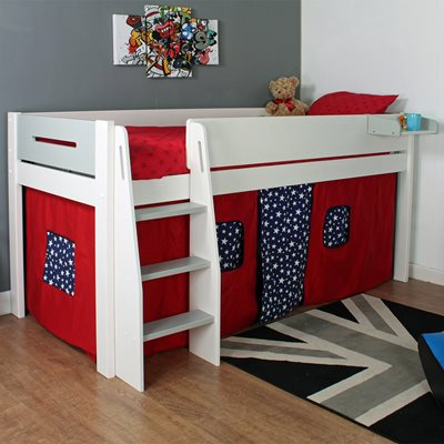 URBAN GREY MIDSLEEPER 3 BED in White and Grey with Red and Blue Tent