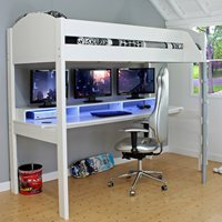 Kids Avenue Noah Gaming High Sleeper 2 - White & Lilac