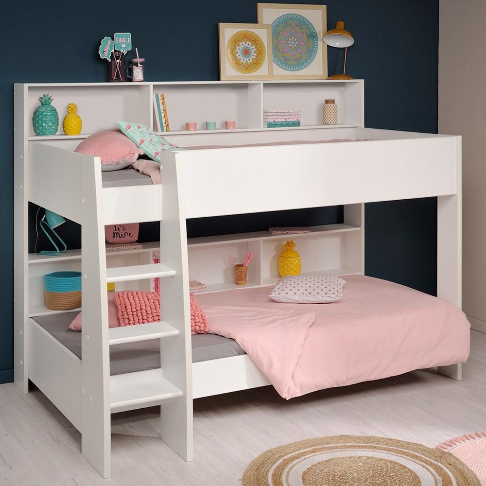 Parisot Tam Tam Kids Bunk Bed In White Brooklyn Oak Kids - Parisot bedroom furniture