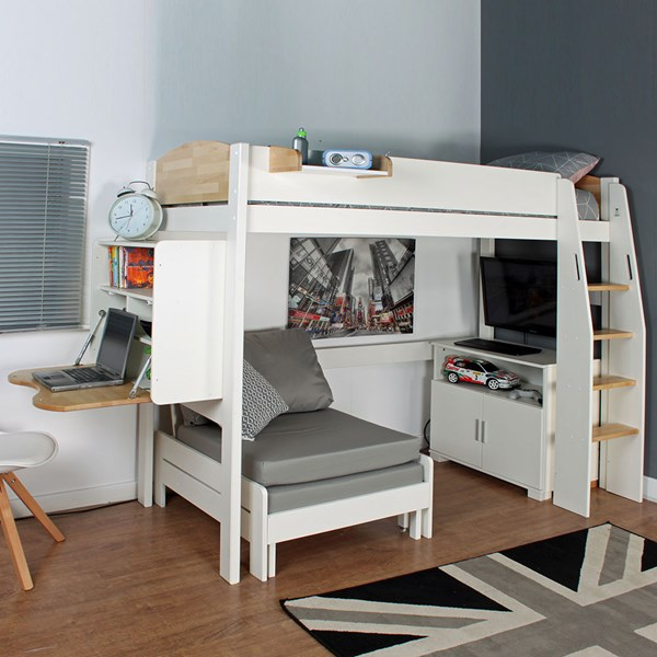 Urban High Sleeper 2 Bed in White & Birch