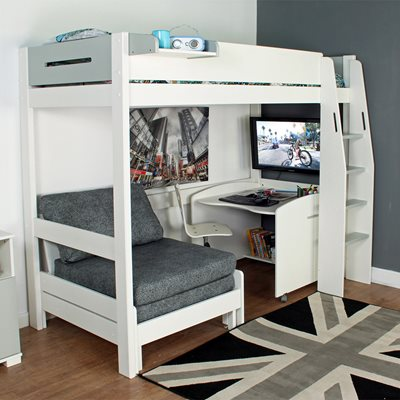 URBAN GREY HIGH SLEEPER 1 BED in White and Grey