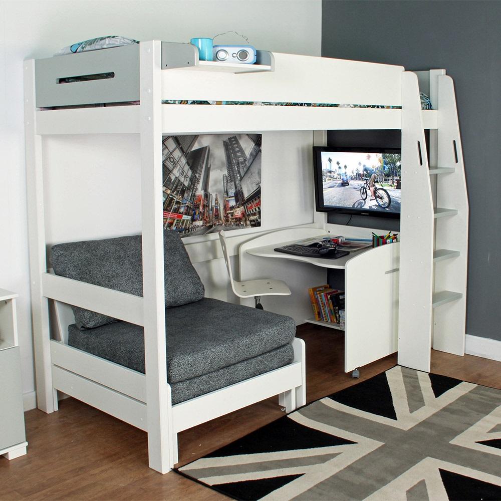 Urban Grey High Sleeper 1 Bed In White & Grey - Kids ...