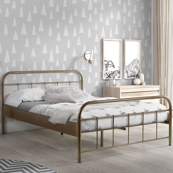Boston Metal Double Bed in Bronze