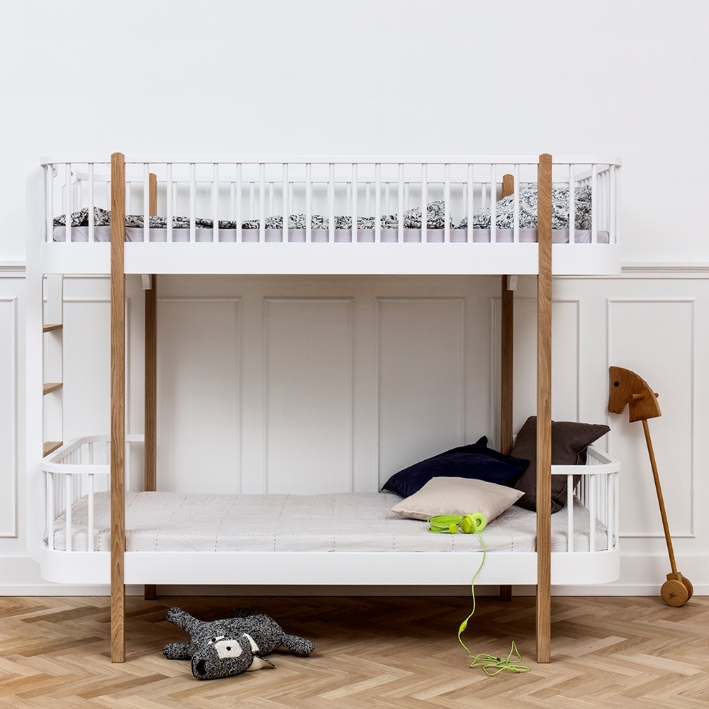 Childrens Luxury Bunk Bed In White Amp Oak Bunk Beds