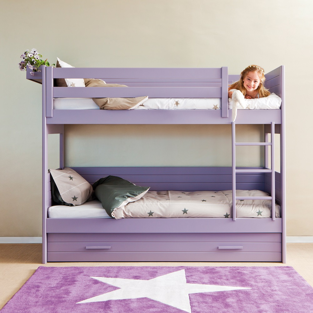 Kids cometa bunk bed with trundle drawer asoral cuckooland for Pull out bed