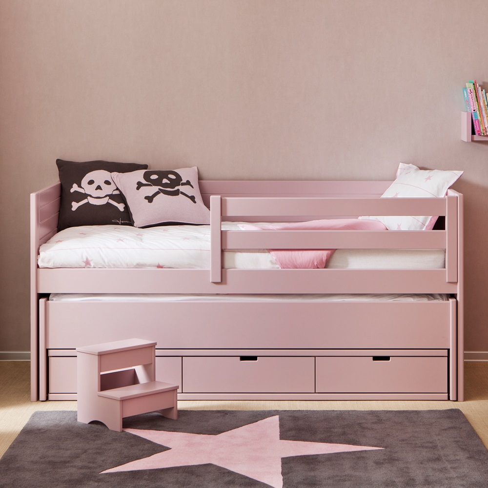 Kids cometa bed with trundle bed drawers girls beds for Pull out bed