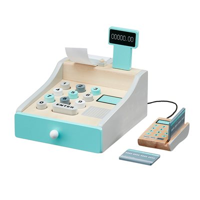 CHILDREN'S WOODEN TOY CASH REGISTER