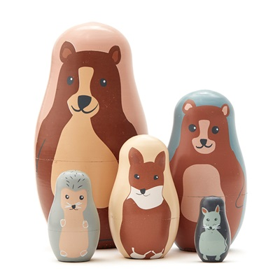 Children's Wooden Animal Nesting Dolls
