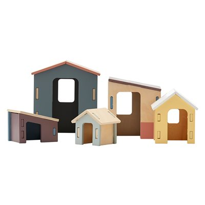 CHILDREN'S SMALL WOODEN HOUSES SET