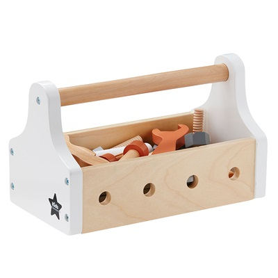 children u0027s toy tool box with accessories in white and natural